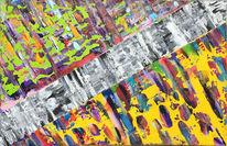Malerei, Blau, Abstrakt, Rot schwarz