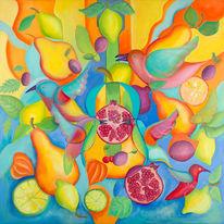 Vogel, Zitrone, Musik, Früchte
