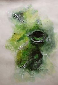 Malerei, Grün, Acrylmalerei, Mischtechnik