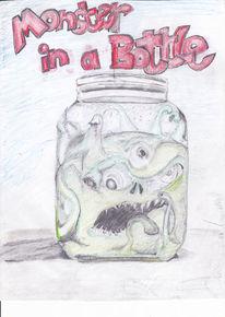 Figur, Zeichnung, Flasche, Monster