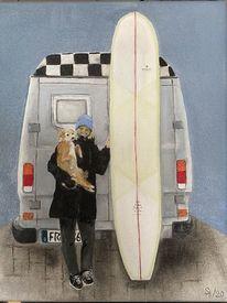 Hund, Menschen, Bus, Malerei