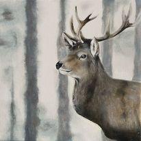 Hirsch, Wildtiere, Wald, Malerei