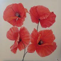 Mohnblumen rot, Natur, Blumen, Malerei
