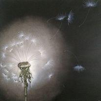 Pusteblumen, Malerei, Nacht, Ölmalerei