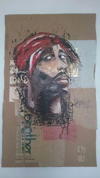 Portrait, Zeichnung, Collage, Malerei