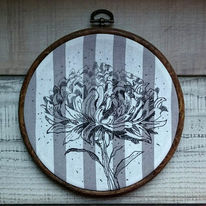 Ilovedrawing, Threadpainting, Blumen, Embroideryhoop