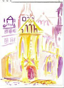 Merseburg, Dom, Eingang, Aquarell