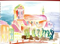 Wismar, Landschaft, Backsteingotik, Aquarell