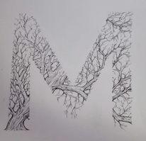 Typografie, Zeichnung, Schwarz, Baum