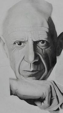 Picasso, Mann, Zeichnung, Schwarz