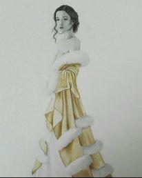 Gold, Frau, Mischtechnik, Zeichnung
