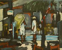 Stadt, Menschen, Malerei, Abend