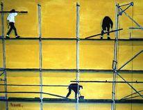 Gelb, Malerei, Menschen, Stadt