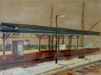 Malerei, Braun, Bahnhof, Landschaft
