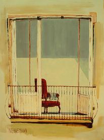 Fenster, Gelb, Balkon, Sessel