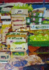Malerei, Grün, Gemüse, Obst