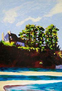 Haus, Baum, Ufer, Meer