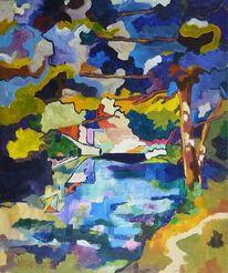 Malerei, Landschaft, Blau, Wasser