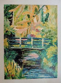 Ufer, Brücke, Gelb, Fluss