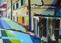 Stadt, Malerei, Müll, Landschaft