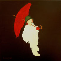 Schirm, Weiß, Mensch rot, Malerei