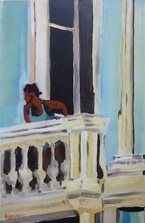 Stadt, Menschen, Malerei, Balkon