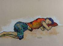 Schlaf, Türkis, Liegend, Menschen