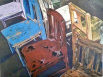 Stuhl, Rot, Alt, Blau