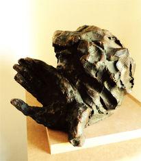 Menschen, Kopf, Hand, Bronze