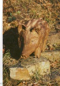 Skulptur, Figur, Beton, Wildschwein