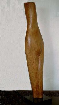 Frau, Eichen, Formen, Holzskulptur