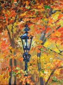 Herbstlaub, Laterne, Wald, Baum