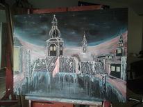 Stadt, Kirche, Himmel, Malerei