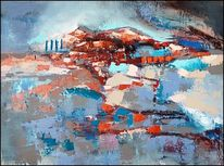 Zeitgenössische kunst, Landschaft, Abstrakte kunst, Gemälde