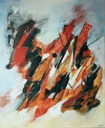 Rot, Moderne malerei, Acrylmalerei, Schwarz