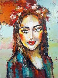 Frau, Zeitgenössische malerei, Gesicht, Abstrakte malerei