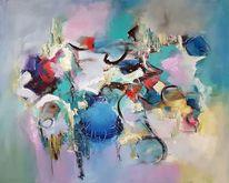 Acrylmalerei, Blau, Abstrakte malerei, Abstrakte kunst