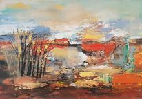Landschaft, Abstrakte malerei, Moderne malerei, Gemälde abstrakt