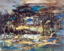 Zeitgenössische malerei, Blau, Abstrakte malerei, Moderne malerei