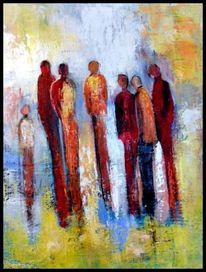 Gelb, Moderne kunst, Menschen, Rot