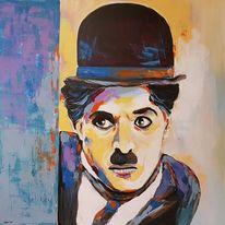 Moderne malerei, Porträtmalerei, Gesicht, Charly chaplin