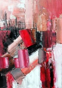 Abstrakte malerei, Moderne malerei, Moderne kunst, Rot schwarz