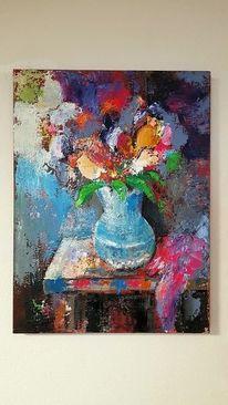 Gemälde abstrakt, Moderne malerei, Schicht, Blumen