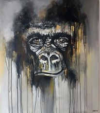 Tiere, Zeitgenössische malerei, Gorilla, Abstrakte malerei
