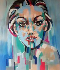 Moderne malerei, Zeitgenössische malerei, Gesicht, Frau