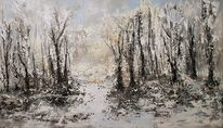 Abstakte malerei, Landschaftsmalerei, Acrylmalerei, Winter