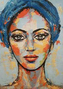 Porträtmalerei, Gesicht, Moderne malerei, Malerei