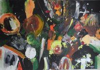 Spachteltechnik, Moderne malerei, Grün, Abstrakte kunst