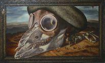 Steampunk, Ölmalerei, Tiere, Aussterben