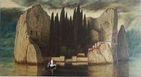 Ölmalerei, Kirschgummitempera, Tod, Insel
